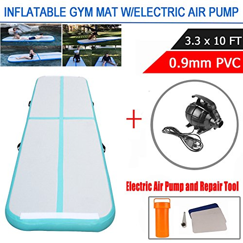 DINGJIN Inflatable Air Track Tumbling Mat with Electric Air Pump for Practice Gymnastics,Cheerleading,Tumbling,Parkour,and Martial Arts,Green (3.3 ft wide x 10 ft long)