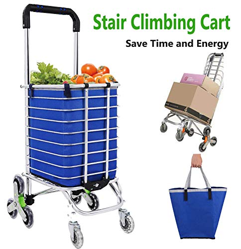 Folding Shopping Cart Grocery Utility Lightweight Stair Climbing Cart with Rolling Swivel wheels and Removable Waterproof Canvas Bag [US Stock] (Utility Carts w/Bag - G)