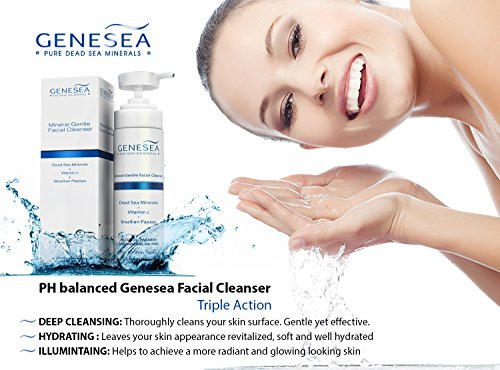Genesea Vitamin C Facial Cleanser - Gentle Deep Pore Face Wash Cleansing and Exfoliating Experience - Leaves Your Skin Looking Smooth and Radiant - Infused with Antioxidants and Dead Sea Minerals