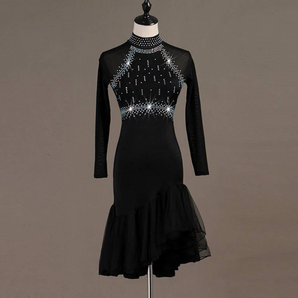 日本最大級 ラテンダンスドレス女性のトレーニングパフォーマンススパンデックスチュールクリスタルラインストーン長袖ハイドレス B07PB9842V Black Medium|Black Black Medium Medium|Black Medium, e-desho:f4dc374b --- a0267596.xsph.ru