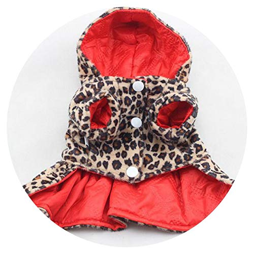 shine-hearty Pets Dogs Leopard Pattern Tutu Coat Dress Puppy Hoodies Both Sides Wear - O-ring Omega