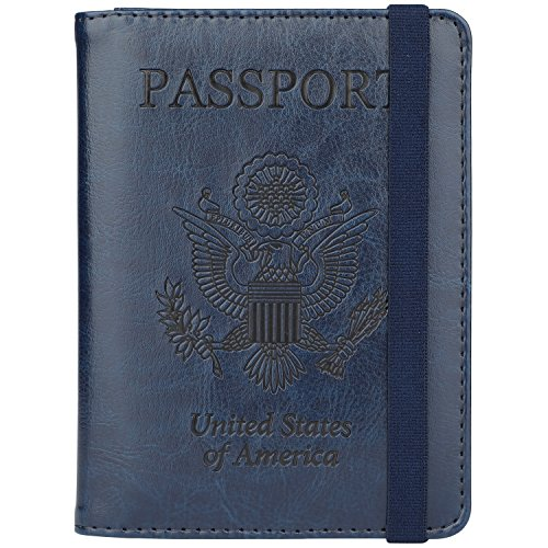 GDTK Leather Passport Holder Cover Case RFID Blocking Travel Wallet (Dark Blue #3)