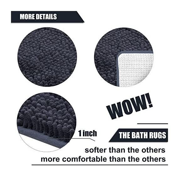 DEARTOWN Non-Slip Shaggy Bathroom Rug,Soft Microfibers Chenille Bath Mat with Water Absorbent, Machine Washable(Dark Grey,31x59 Inches) - GREAT ABSORBENCY: The chenille area rug can absorb water quickly, it has strong water-absorbent ability because of plenty of microfiber shags can keep your room floors dry and clean. Regularly be exposed to the sun to keep the mat always dry and clean. NON-SLIP: The non-slip bathroom mat for floor is backed with TP Rubber to prevent shifting and skidding. Please place the toilet rug on DRY SMOOTH FLOOR only. Water under the bathroom rug can cause it to slip. Keep bottom of the bath rug dry. PAMPER YOUR FEET: This bath mat for bathroom is constructed with thousands of individual microfiber shags, sink your toes into the comfortable contentment of a bathroom floor mat from threshold. Soft pile that soothes tired feet and shields toes from the cold floor. - bathroom-linens, bathroom, bath-mats - 5111B7tcq6L. SS570  -