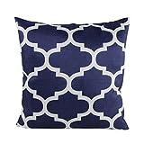 Decorative Throw Pillow Case Cushion Cover (Navy Quatrefoil) 18