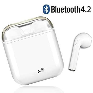 Auriculares Bluetooth, V4.2 Auriculares Inalámbricos Bluetooth, Estéreo Impactante, Con Micrófono y Caja de Carga, Auriculares Intrauditivos para iPhone ...