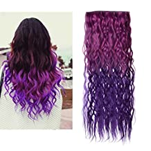 Bestrice Ombre Dip-dye Color Clip in Straight Synthetic Thick Hair Extension 21.6-23.6 inches Length Red to Purple Loose Curl for Fashion Girls