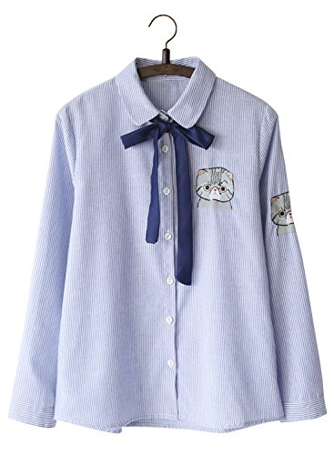 Futurino Women's Cat Embroidery Stripey Bow Tie Neck Button Down Blouse Shirt
