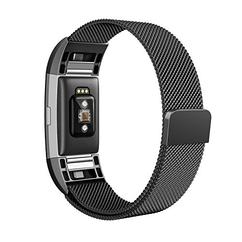 Fitbit Charge 2 Bands, Coukou Milanese Loop Stainless Steel Bracelet Replacement Wristbands Smart Watch Strap with Unique Magnet Lock for Fitbit Charge 2 - Black