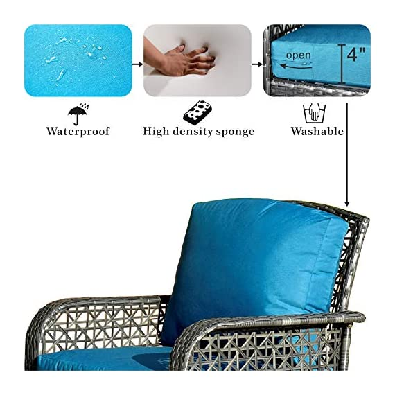 ovios 4 PCs Patio Furniture Sets All Weather Water-Resistant and UV Resistant Rattan Wicker Deep Seating Outdoor Sofa Conversation Set with Cushions,Table (Gray Wicker + Blue Cushion) - 【 Easliy Assembly and 1 year warranty 】Assemble easily and provide assemble video guidance by contacting OVIOS ; Free replacement for damage parts and missing parts.The 4 PCs furniture will be shipped in 2 thicken box and covered by the storage bags to provided the furniture set from missing parts and scratched. ☀☀【High-grade Material】:High quality rustproof galvanized strong steel frame, Rust resistant,durable and not break easily ; Water Resistant,Weather resistant and UV Resistant PE rattan wicker,no colour fading and no breaking after years of exposure ; Water Resistant cushions;Suitable for all weather ,insolation,rainstorms,outdoor and indoor. ☀☀【Exquisite workmanship】:100% Hand-woven Hight quality Rattan Wicker, no breakage;Machine washable zippered cushions cover,no damaged,no split, no crack,no fade,no rot and no deteriorate after a long time - patio-furniture, patio, conversation-sets - 5111BX9usBL. SS570  -