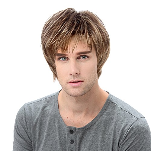 STfantasy Mens Wig Blonde Ombre Brown Male Guy Short Layered Cosplay Party Hair Toupee 12 Inches