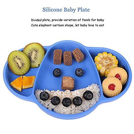 iKiKin Silicone Baby Plates Non-Slip BPA Free Blue Toddlers Plate with Suction FDA Certificated Microwave and Dishwasher Safe