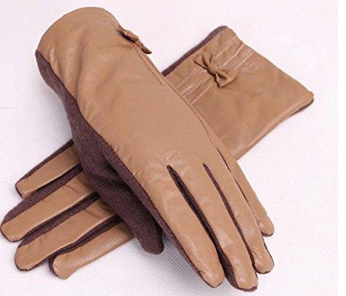 Winter-neue Ankunfts-elegante Damen Handschuhe Lady Girl Mode Stilvolle Herbst Warmer Winter Handschuhe Schöne bowknot PU Lederhandschuhe Wollhandschuhe Vollfingerhandschuhe Outdoor-Sport-Handschuhe Skihandschuhe dickere Handschuhe Viele Farben
