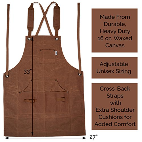 Heavy-Duty Waxed-Canvas Work Apron for Men and Women withPockets for ToolsCross-Back Straps – Adjustable from M to XXL (Brown) by Premium Rhino (Image #1)