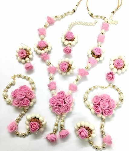 Buy Shivi Jewels Floret Pink Gota Patti Flower Jewellery Set For