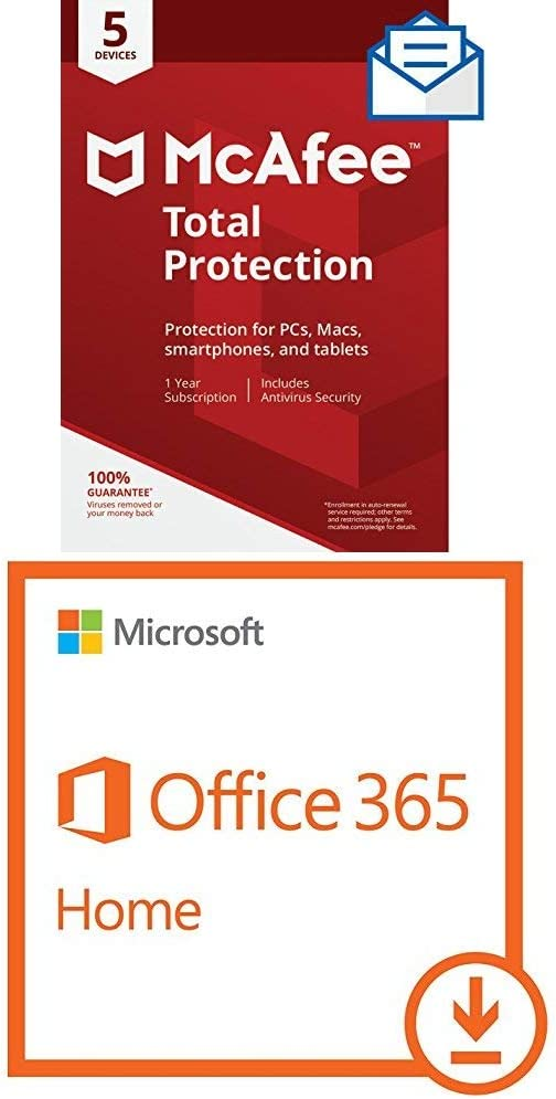 McAfee Total Protection - 5 Devices [Activation Card by Mail] and Microsoft Office 365 Home | 1 Year Subscription | with Auto-renewal, 2-5 users