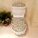 Practical 3-piece Tank Cover, Toilet Seat Cover Set Zippered Lace Bathroom Toilet Decor Toilet Seat Cover Toilet Mat,Green Floral