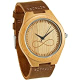 WONBEE Bamboo Wood Watches Cowhide Leather Strap Unisex,Bonus 2 Wooden Bead Bracelets