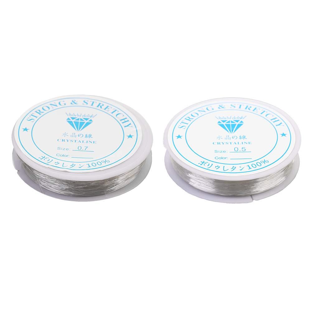 Baoblaze Hilo Elá stico Transparente, Cordó n Elá stico para Joyerí a Hace 0.7mm y 0.5mm Cordón Elástico para Joyería Hace 0.7mm y 0.5mm