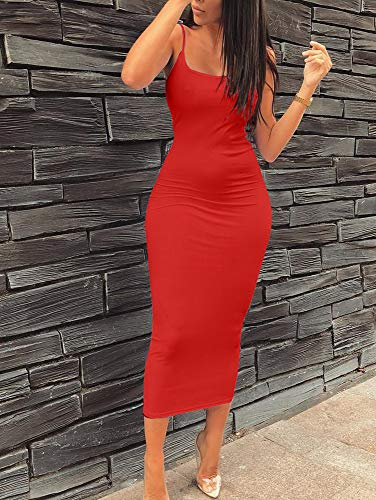 BEAGIMEG Womens Sexy Spaghetti Strap Backless Bodycon Casual Long Dress at Amazon Womens Clothing store: