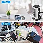 NVEESHOX-Ciabatta-Multipresa-Verticale-9-Prese-con-4-Slot-USB-A-1-USB-C-2M-Cavo-ProtezioneTorretta-Ciabatta-Multipresa-da-Scrivania-Elettrica-con-Protezione-da-Sovraccorrente-Bianco-nero