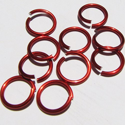 RED Anodized Aluminum Jump Rings 150 1/4 16g SAW CUT