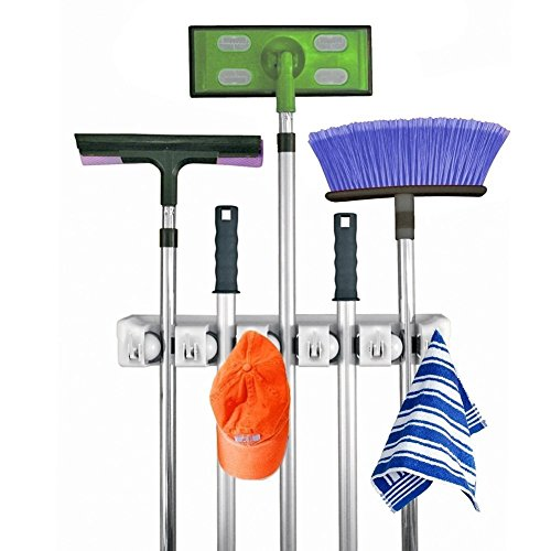 Define Essentials - Mop and Broom Holder, 5 position with 6 hooks garage storage Holds up to 11 Tools, storage solutions for broom holders, garage storage systems broom organizer