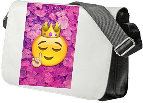 Shoulder Bag 'Smiley with crown and watched Hand sign in pink stone design' Schoolbag- Sidebag- Handbag- Sports Bag- Backpack- Emoji- Smiley Face- Christmas Gift