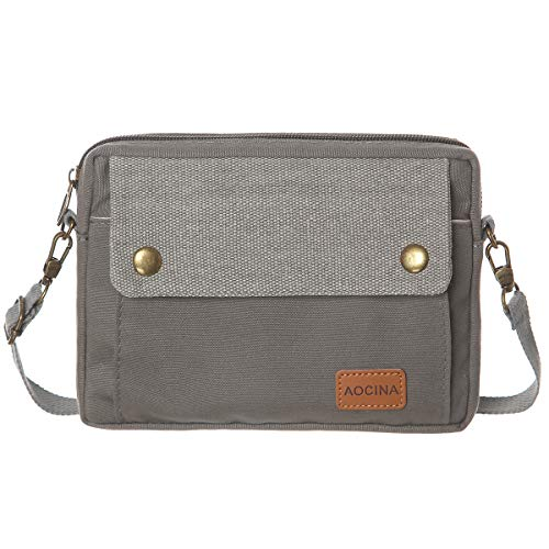 AOCINA Cell Phone Purse Wallet Canvas Big Pocket Women Small Crossbody Purse Bags (B-Gray)