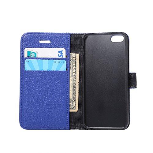 Voguecase® für iPhone SE hülle , Kunstleder Tasche PU Schutzhülle Tasche Leder Brieftasche Hülle Case Cover (Litschi Linien/Blau) + Gratis Universal Eingabestift