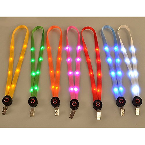 LOHOME® Bundle of 7 PCS Colorful LED Neck Strap Band Lanyard Waterproof (Led Necklace)