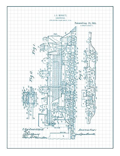 Locomotive Train Patent Print Art Poster Blue Grid (8