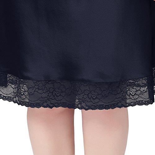Lilysilk Camisón De Seda De 22 Momme Con Encaje Media Longitud Varios Colores Disponibles Azul Marino