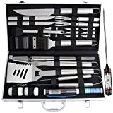 Romanticist 27pc BBQ Grill Accessories Set with Thermometer - Heavy Duty Stainless Steel Grill Utensils in Aluminium Case for Outdoor Camping Backyard Barbecue - Ideal for Men Dad
