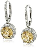 Sterling Silver Gemstone Halo Dangle Earrings