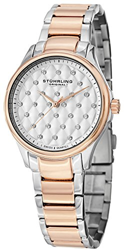Stuhrling Original Women's 567.03 Vogue Swiss Quartz Crystal Dial Two Tone Rose Watch (Watches For Women Stuhrling)