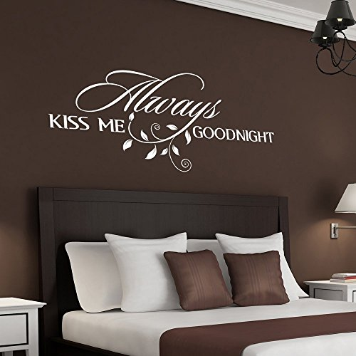 Always Kiss Me Goodnight Wall Quote Decal Romantic Bedroom Decal