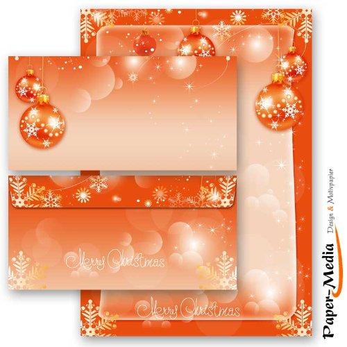20 Pièces paper-media lot de 10 feuilles de papier à lettre motif mERRY cHRISTMAS + 10 enveloppes format long sans fenêtre assorties