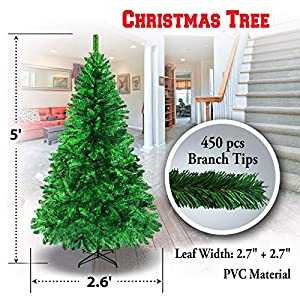 BenefitUSA 5' 6' 7' 7.5' Classic Pine Christmas Tree Artificial Realistic Natural Branches-Unlit with Metal Stand 2
