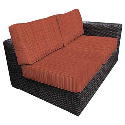 Envelor Santa Monica Outdoor Patio Furniture Wicker Rattan Left Side Sectional Includes Papaya Dupione Sunbrella Cushions