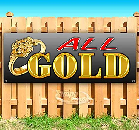 New Store Advertising All Gold 13 oz Heavy Duty Vinyl Banner Sign with Metal Grommets Flag, Many Sizes Available