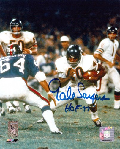 Gale Sayers Autographed/Signed Chicago Bears 8x10 NFL Action Shot Photo with