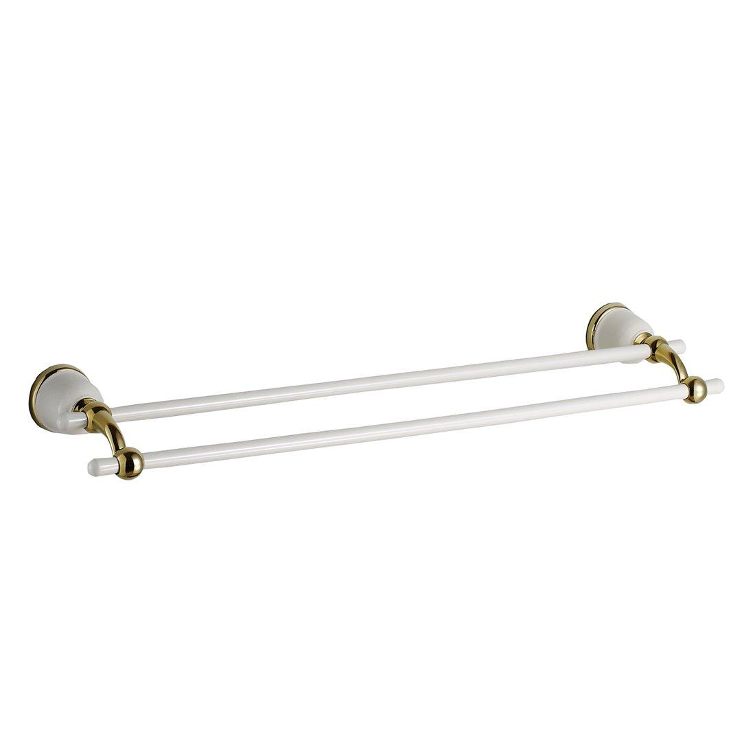 Inchant Modern White Double Towel Bar Solid Brass Bathroom Kitchen Towel Rack Holder Wall mounted Lavatory towel Hanger rail ,Shelf Rack Hanging Towel for Bath Storage - 26 inch