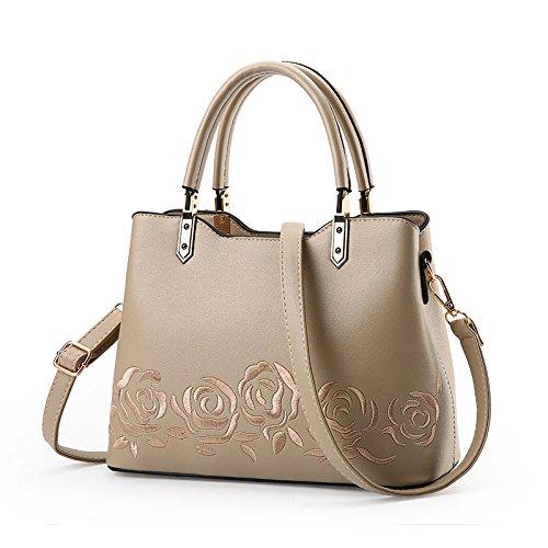Zxcb Shopping Bag Embroidery Bag Fashion Handbag Shoulder Bag Wind Vintage National Women Khaki
