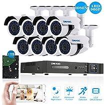 OWSOO 8CH Camera Video Surveillance System H.264 onvif 1080 DVR +8pcs 960P AHD IR CCTV Camera + 8pcs 60ft Surveillance Cable + 1TB HDD