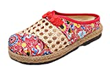 Soojun Women's Jute Chinese Pattern Slip-on Loafer Mule, Size US 8.5, Red