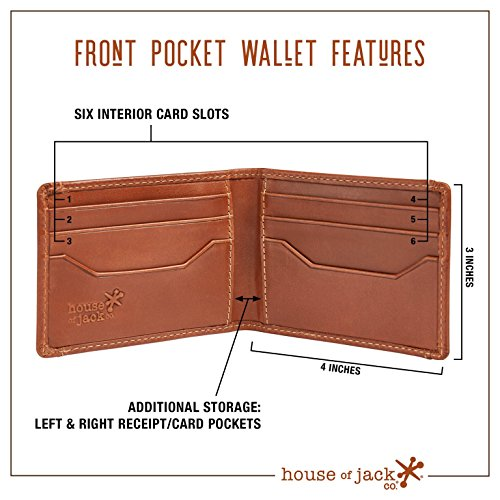 HOJ Co. DEACON ID BIFOLD Front Pocket Wallet-Full Grain Leather-Bifold Money Clip Wallet (Brown Smooth)