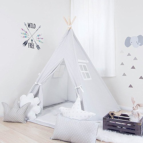 Kids Teepee Tent Comes with 2 Windows. French Gray w/ White Mini Stars Teepee Set, Handcrafted Teepee for Kids by Teepee Joy