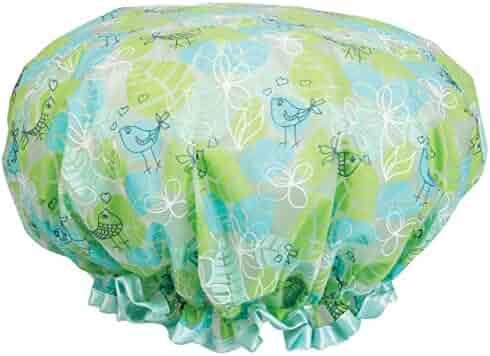 Cala Floral green bouffant shower cap