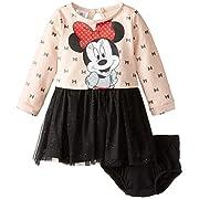 Disney Baby-Girls 2 Piece Minnie Mouse Dress Set, Beige, 3-6 Months
