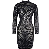 VIVOSKY Women Sequin Dress Geometric Tattoo Bandage Bodycon Club Dresses